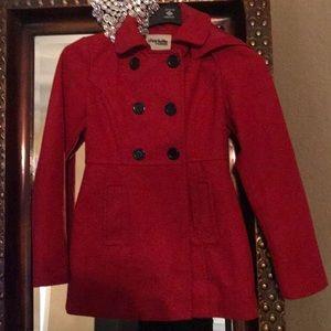 Cherry red pea coat with detachable hood